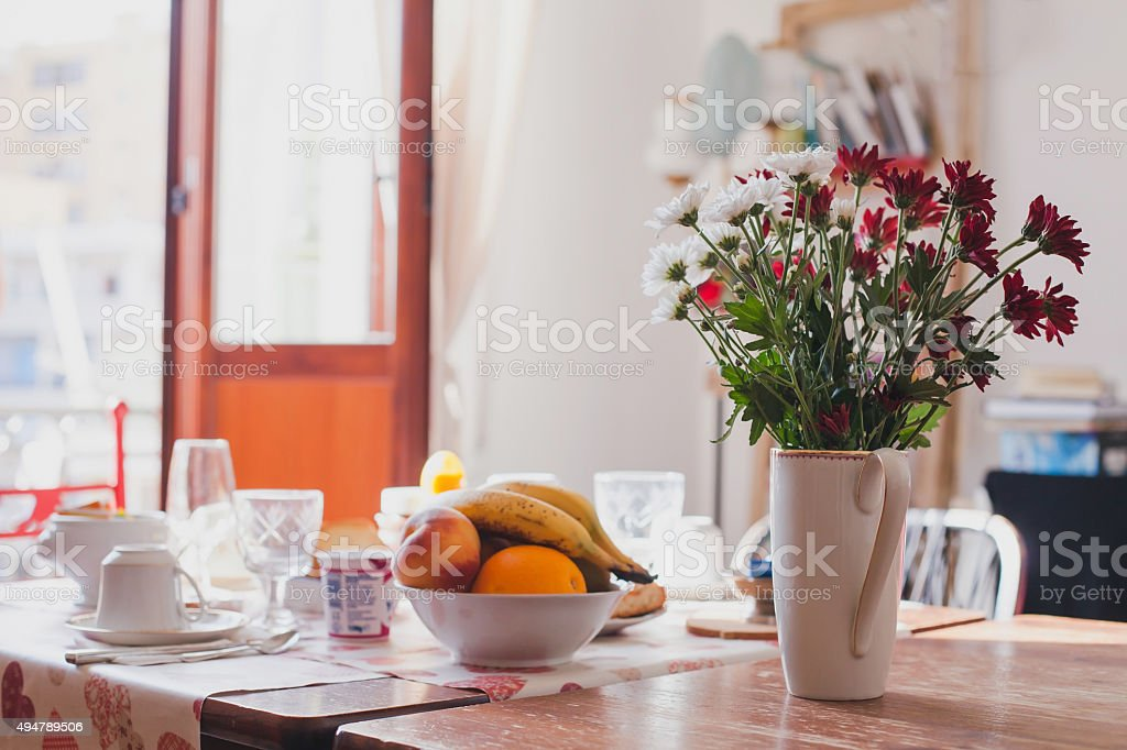 breakfast at home stock photo