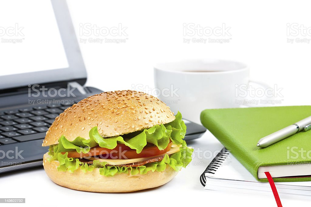 breakfast at work royalty-free stock photo