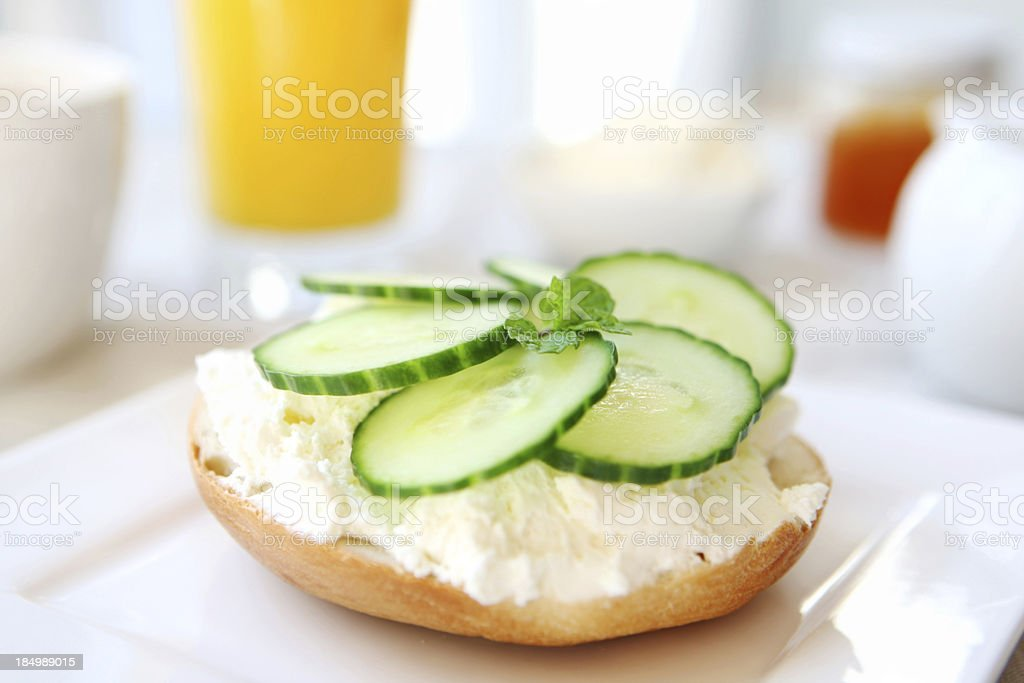 breakfast - bagel and cream cheese royalty-free stock photo