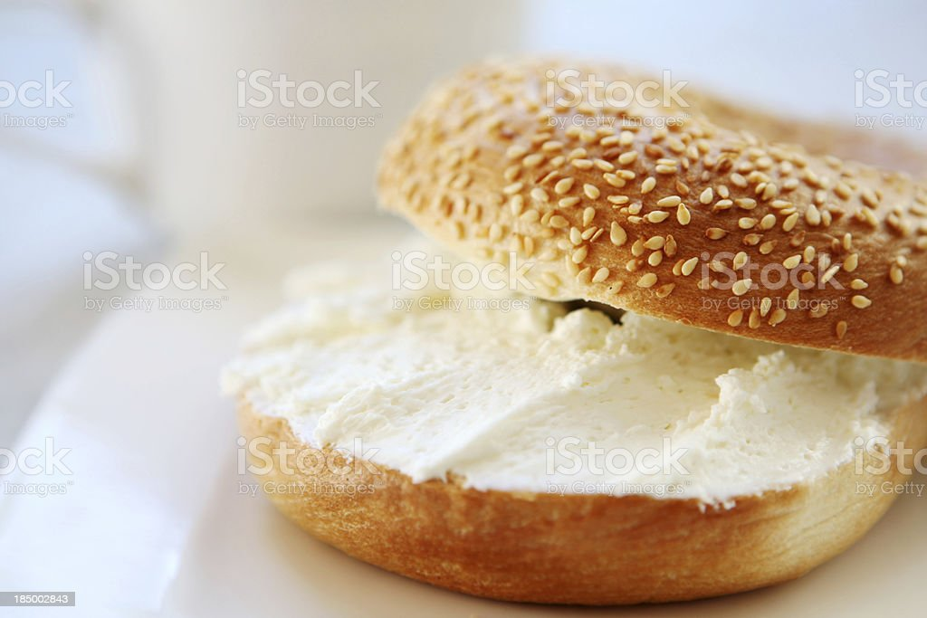 breakfast - bagel and cream cheese stock photo