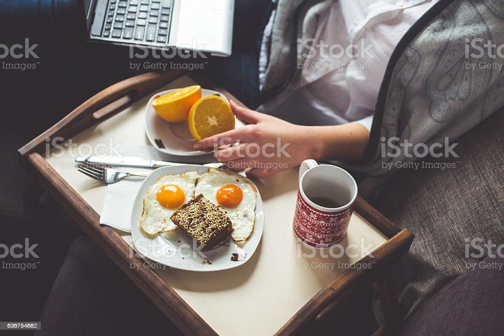 Breakfast before Work stock photo
