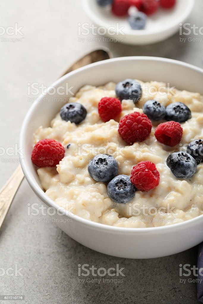 Breakfast bowl with berry stock photo