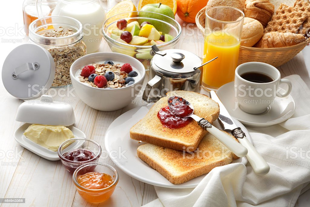 Breakfast: Breakfast Table Still Life stock photo