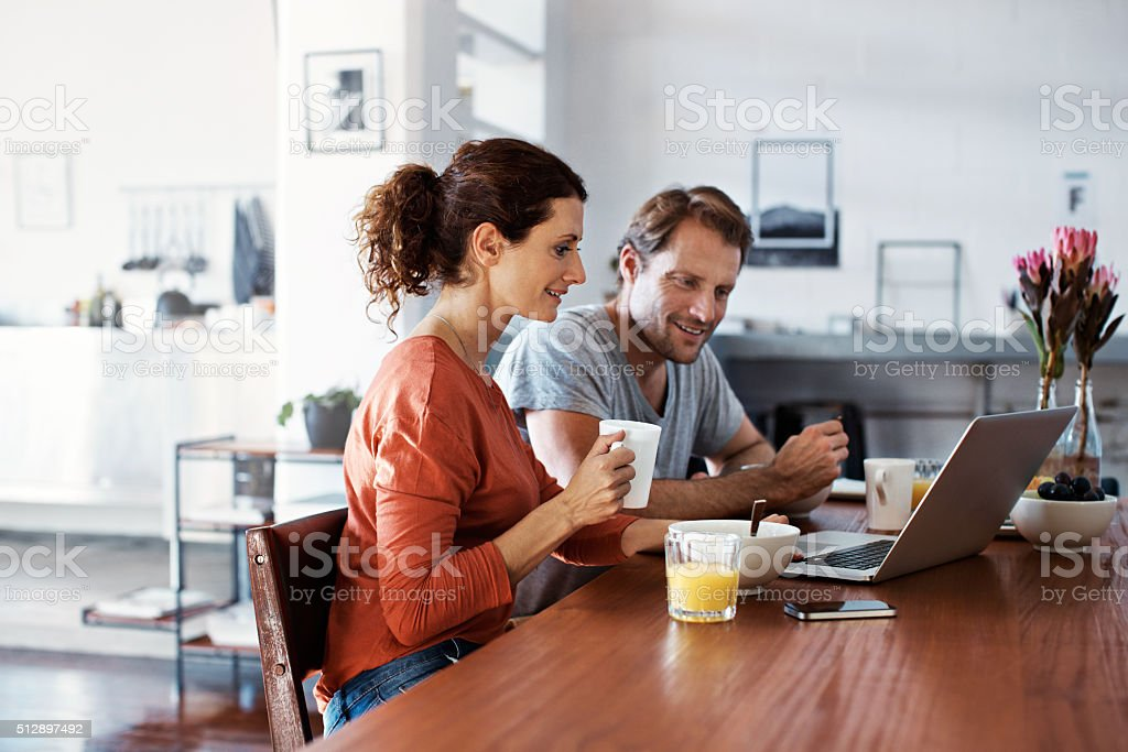 Breakfast browsing stock photo