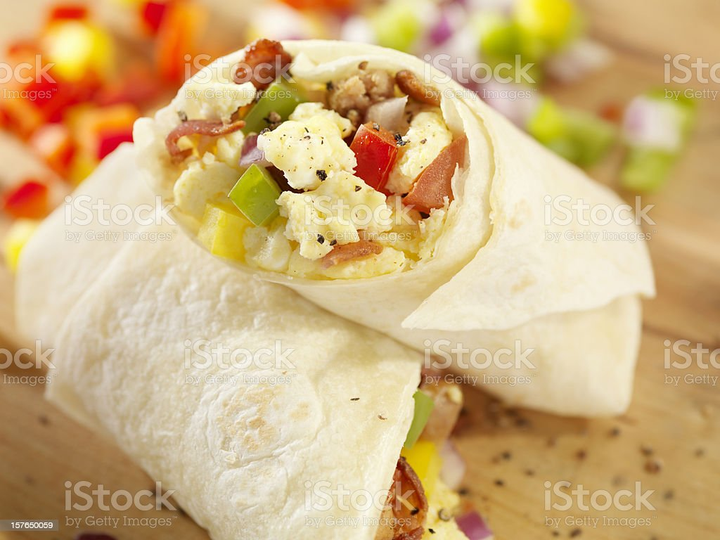 Breakfast Burrito with Scrambled Eggs stock photo