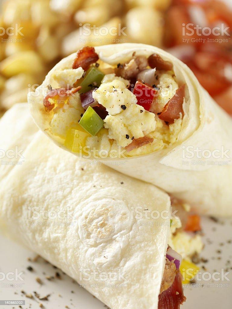 Breakfast Burrito with Scrambled Eggs stock photo
