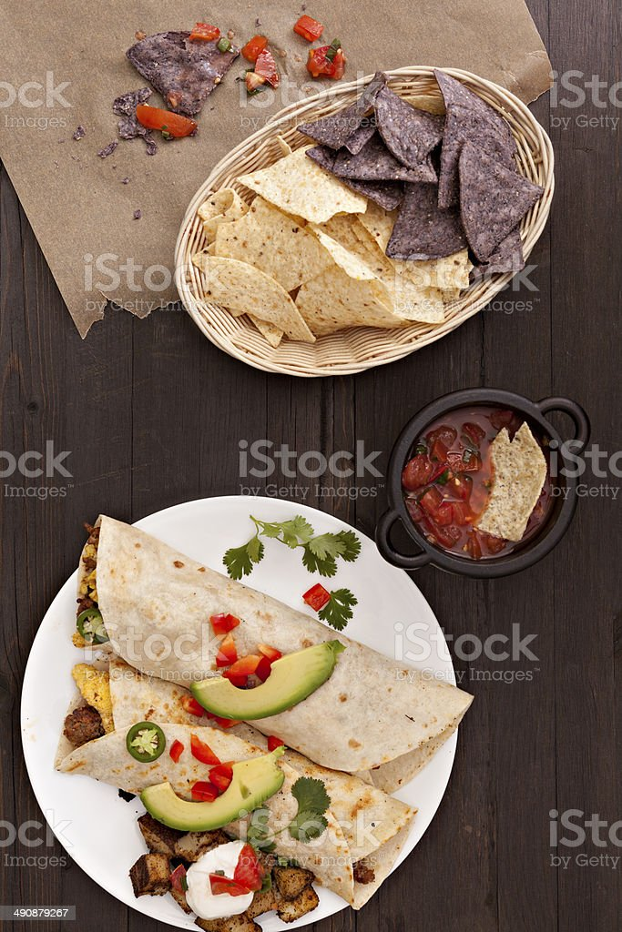 Breakfast Burritos And Chips stock photo