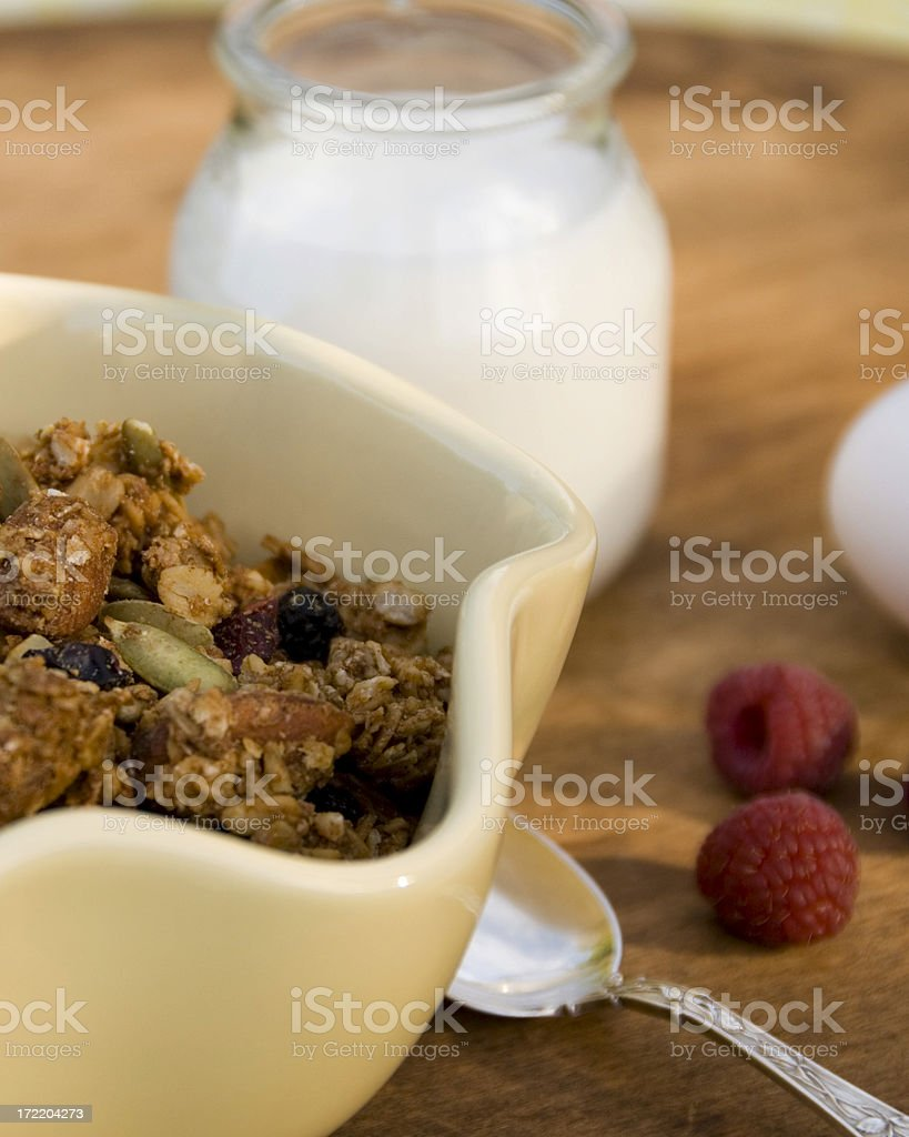 Breakfast Cereal & Milk, Healthy Food: Granola & Almonds, Raisins, Pepitas royalty-free stock photo