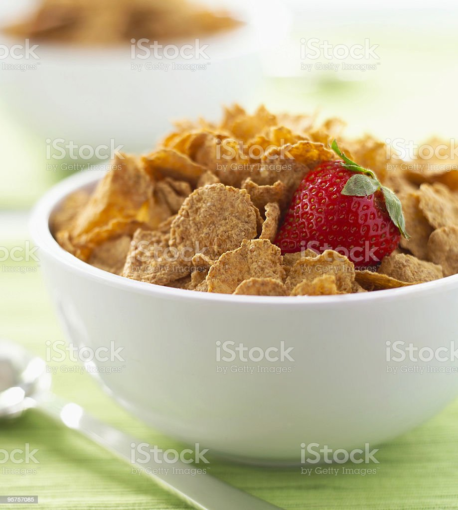 breakfast cereal with a strawberry stock photo