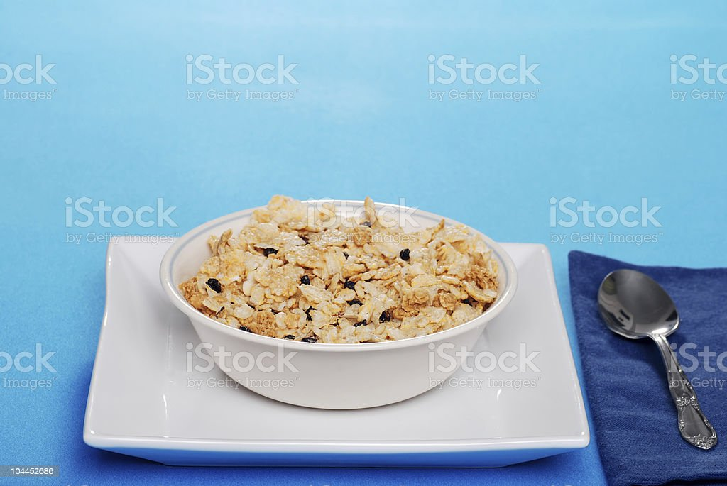 Breakfast cereal with blueberries royalty-free stock photo
