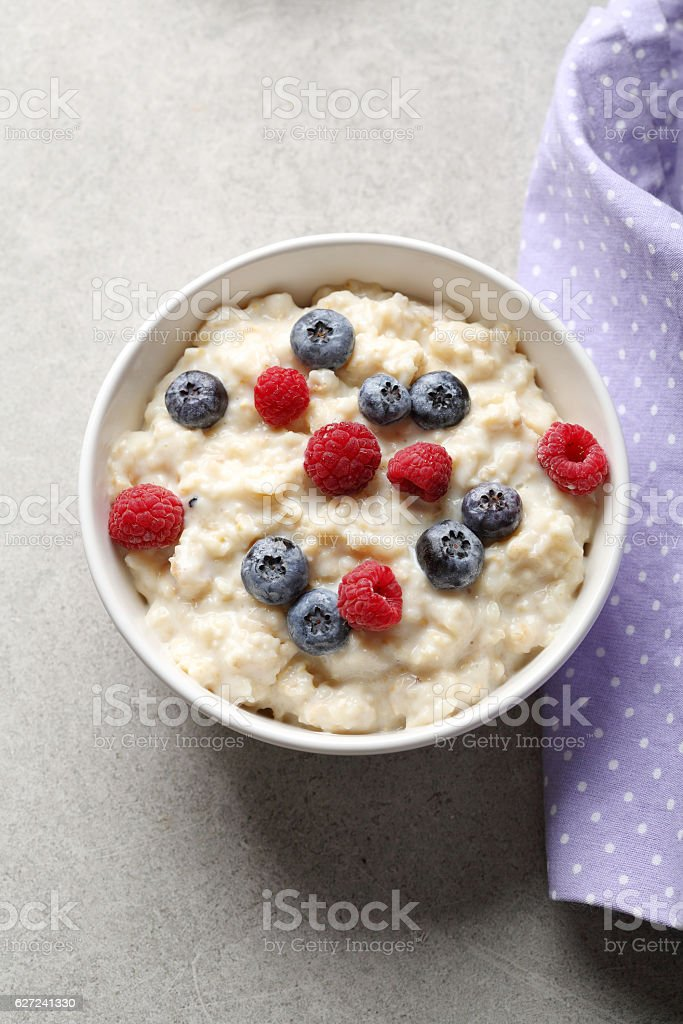 Breakfast cereal with milk stock photo