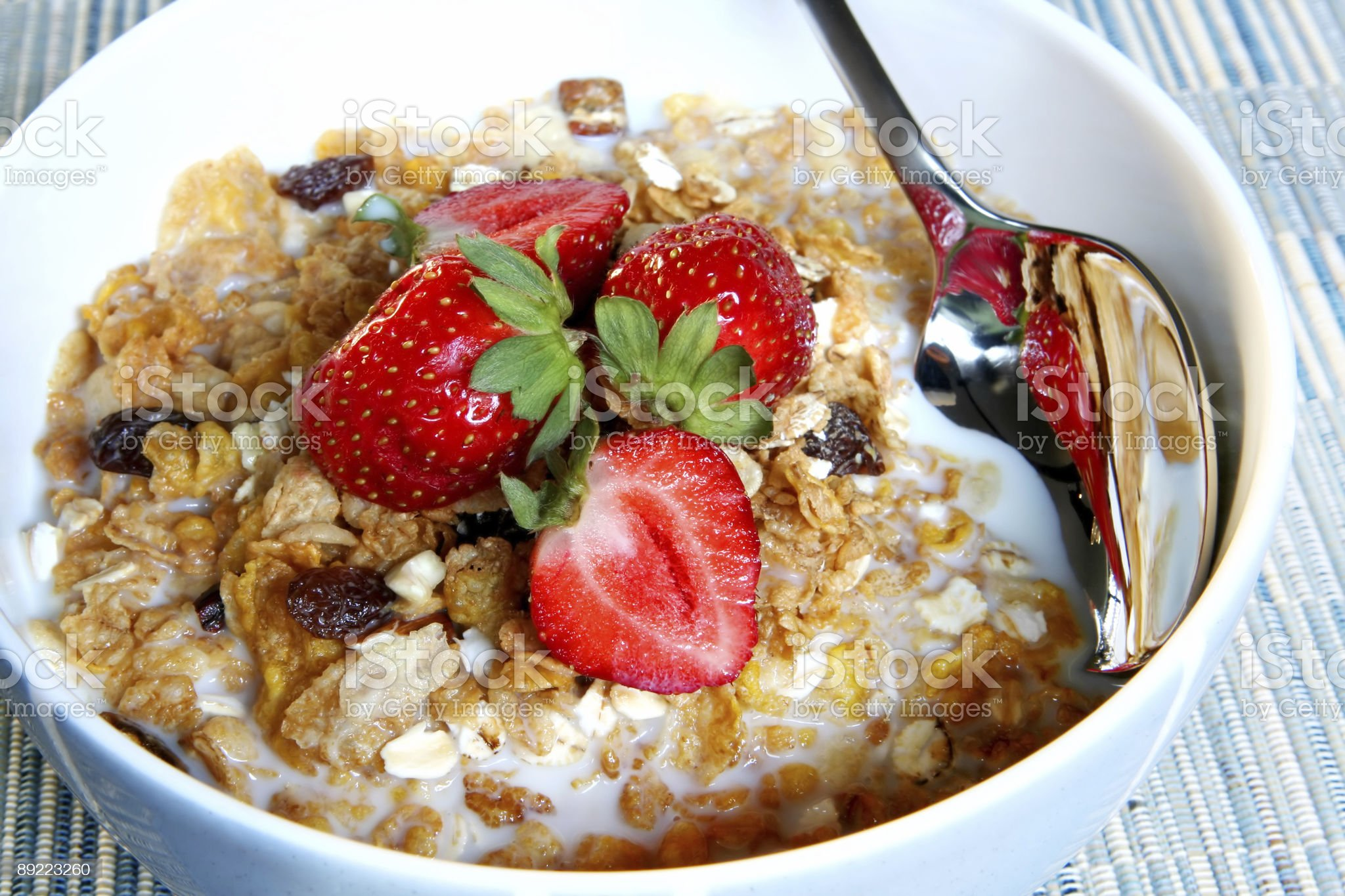 Breakfast Cereal with Strawberries royalty-free stock photo