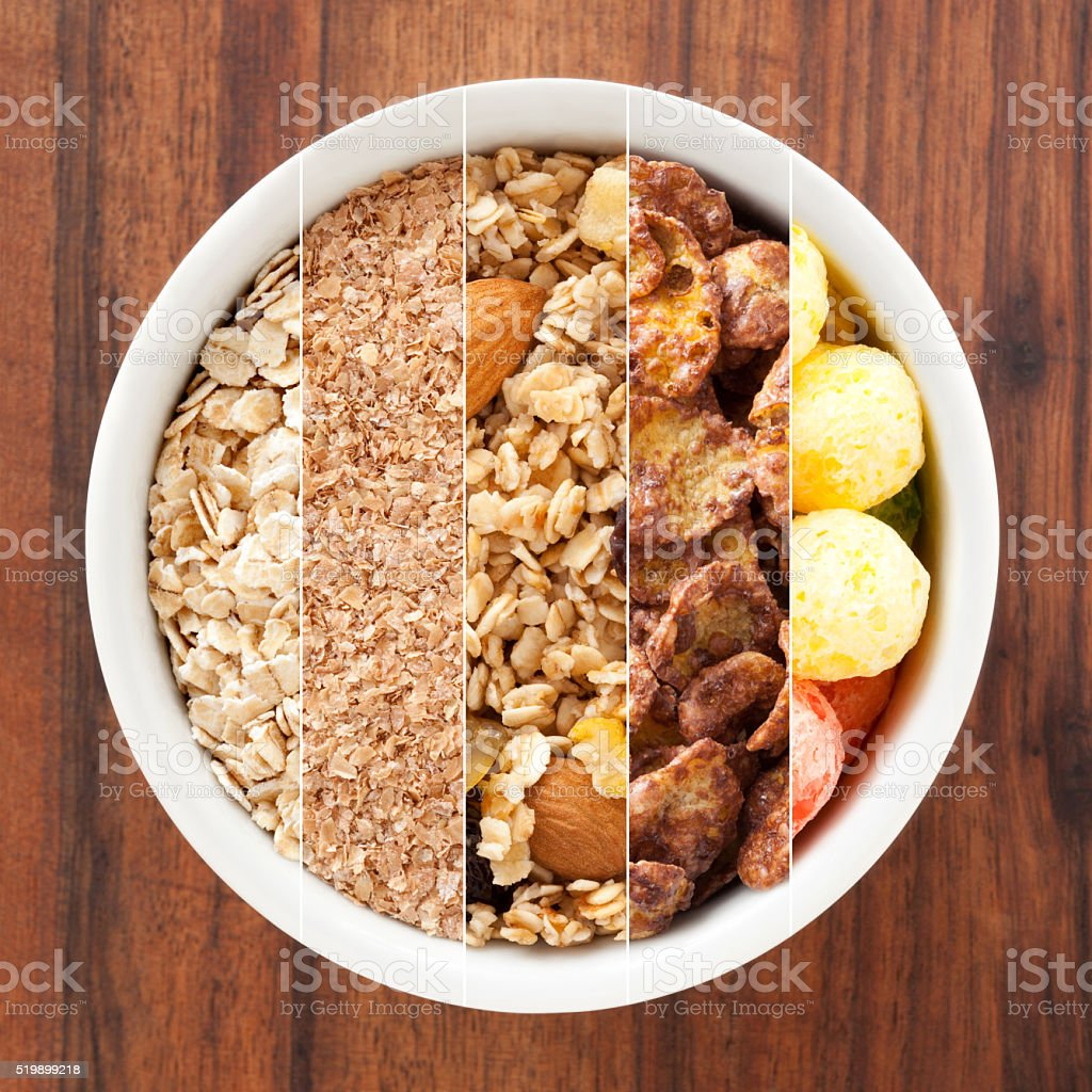 Breakfast cereals composition stock photo