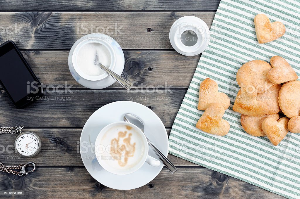 Breakfast coffee with milk and cookies stock photo