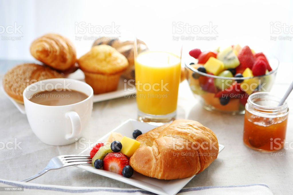 breakfast- croissant, fruit salad and coffee royalty-free stock photo