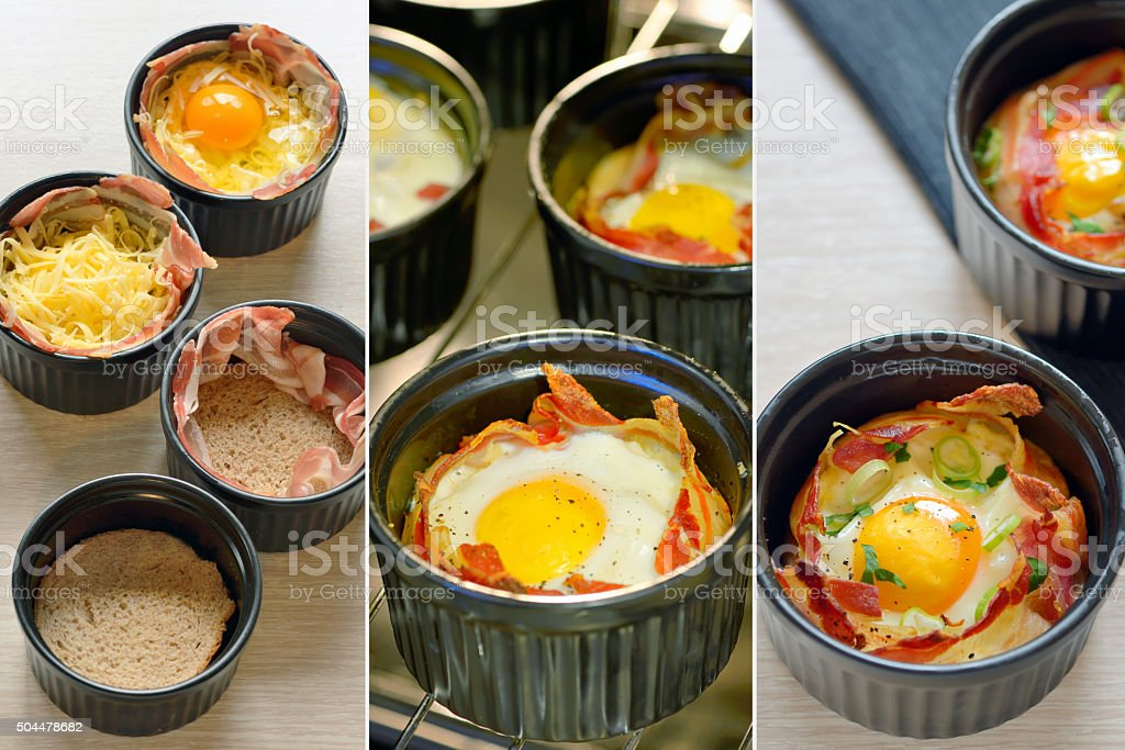 Breakfast cups egg with bacon stock photo