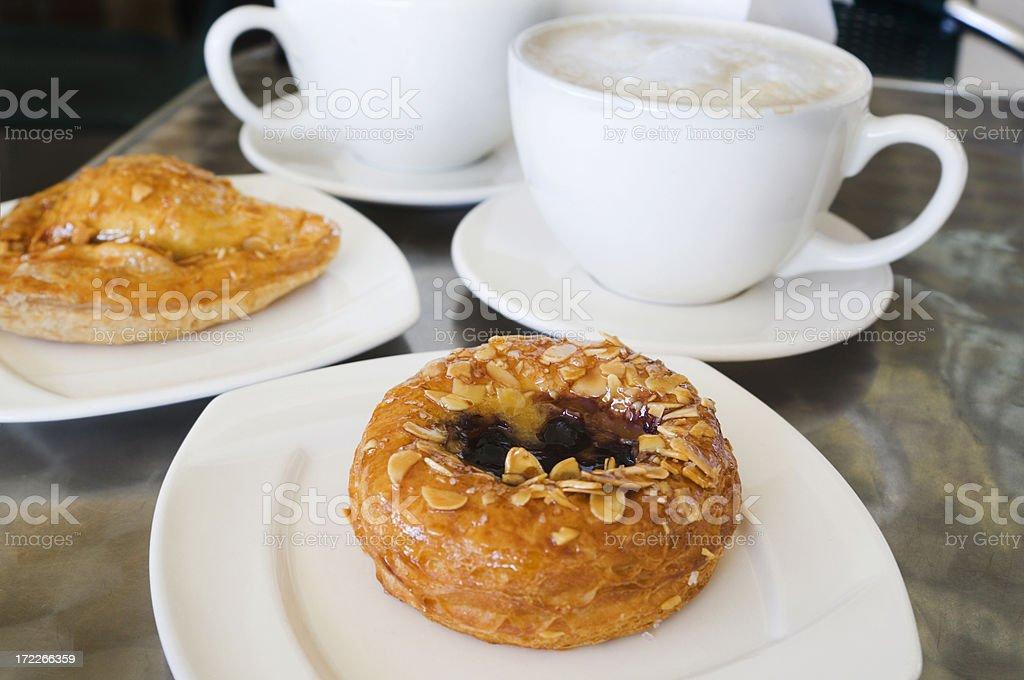Breakfast Danishes & Lattes royalty-free stock photo