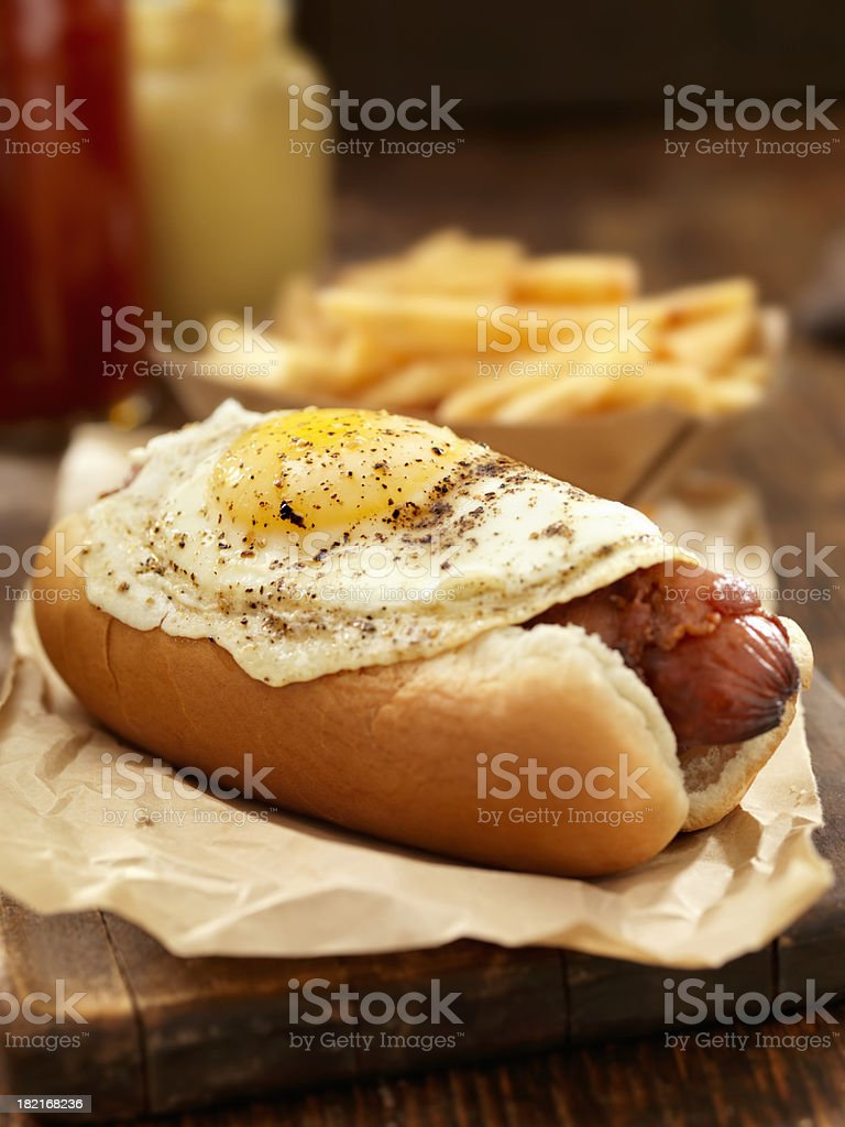 Breakfast Dog with Fries royalty-free stock photo