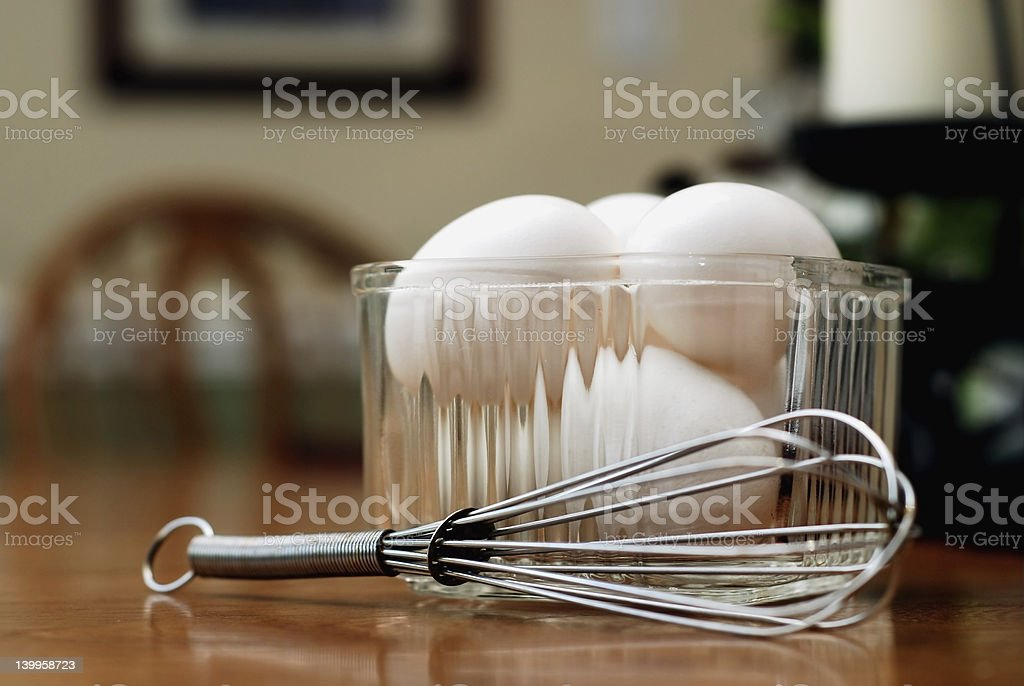 Breakfast Eggs and Kitchen Whisk royalty-free stock photo