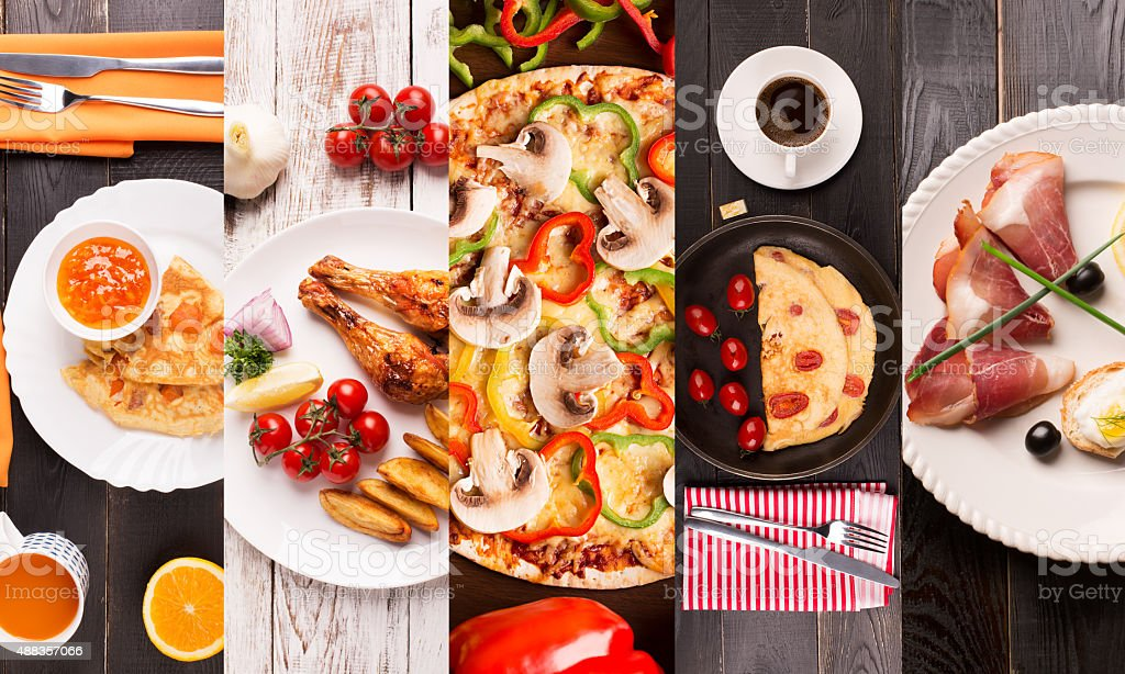 Breakfast food collage stock photo