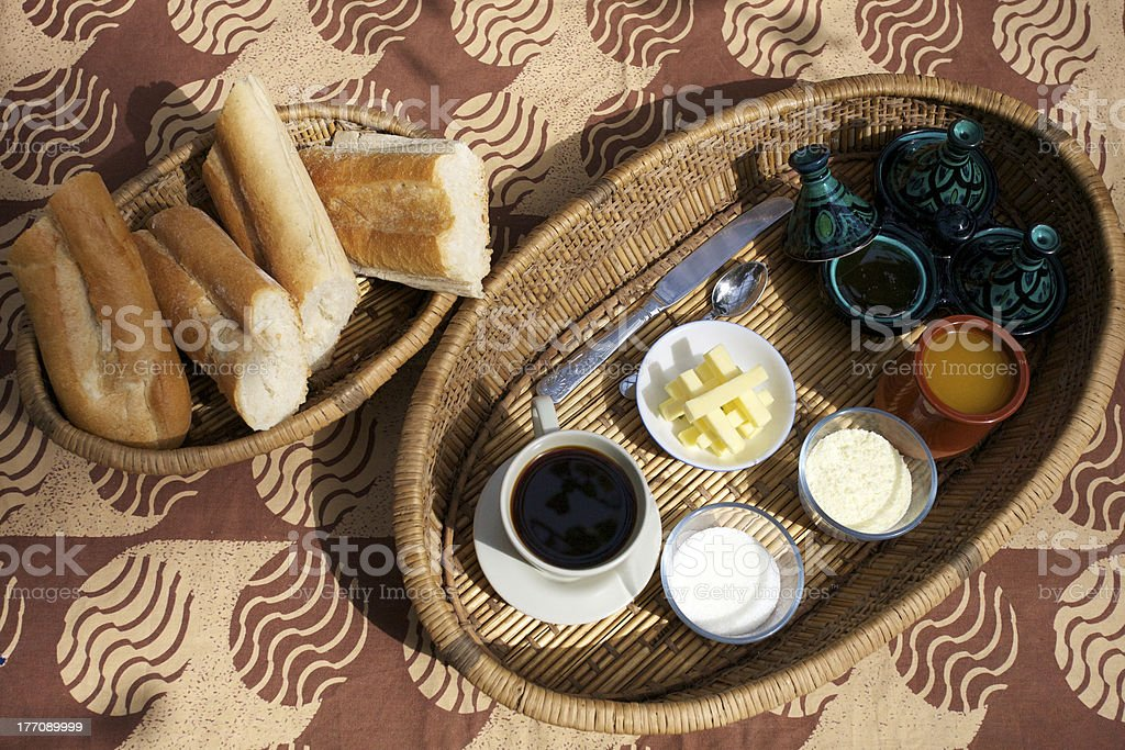 Breakfast foods and drinks royalty-free stock photo