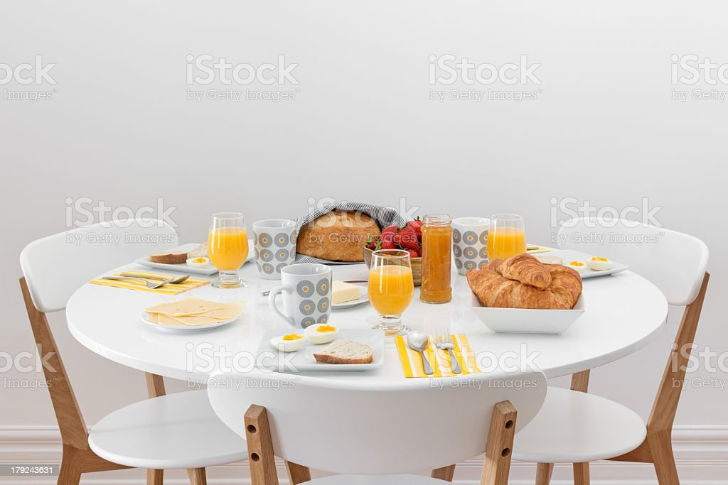 Breakfast for three stock photo