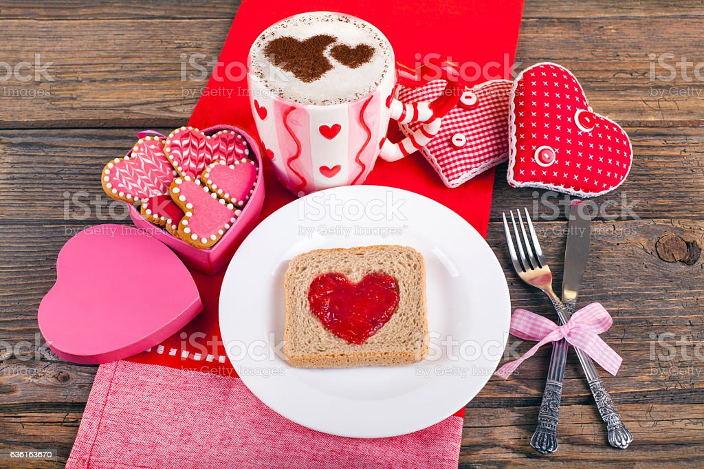 Breakfast for Valentine's day morning stock photo