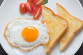 Breakfast, fresh fried egg and bread.
