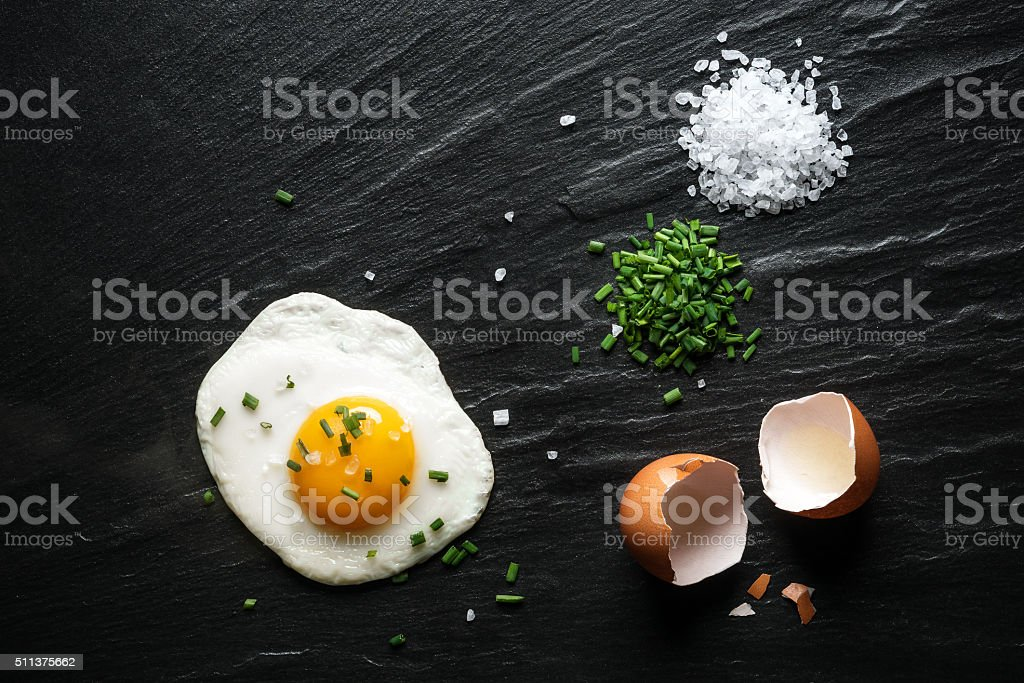 Breakfast, Fried Egg on a Slate stock photo