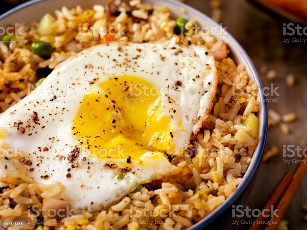 Breakfast Fried Egg with Rice stock photo