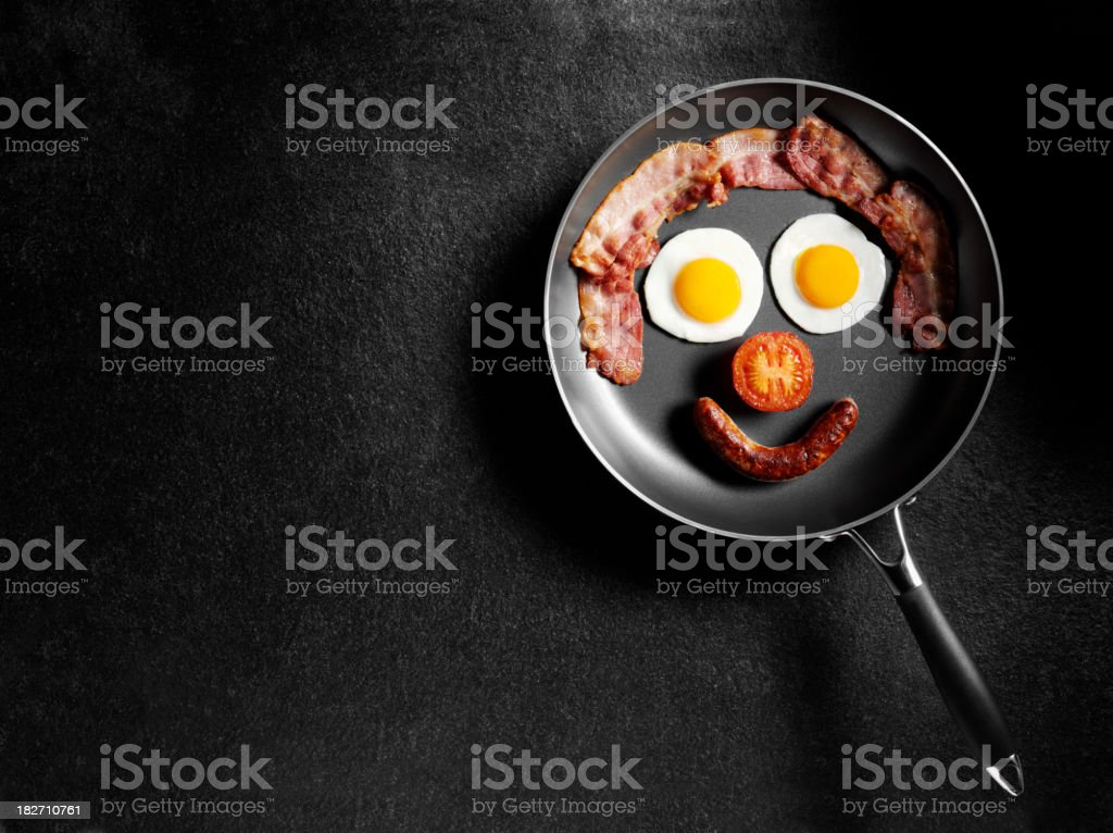 Breakfast in a Frying Pan stock photo