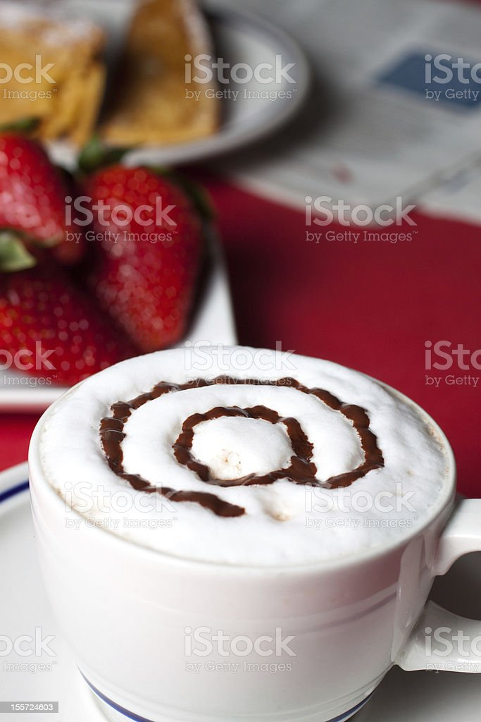 Breakfast in a internet cafe royalty-free stock photo