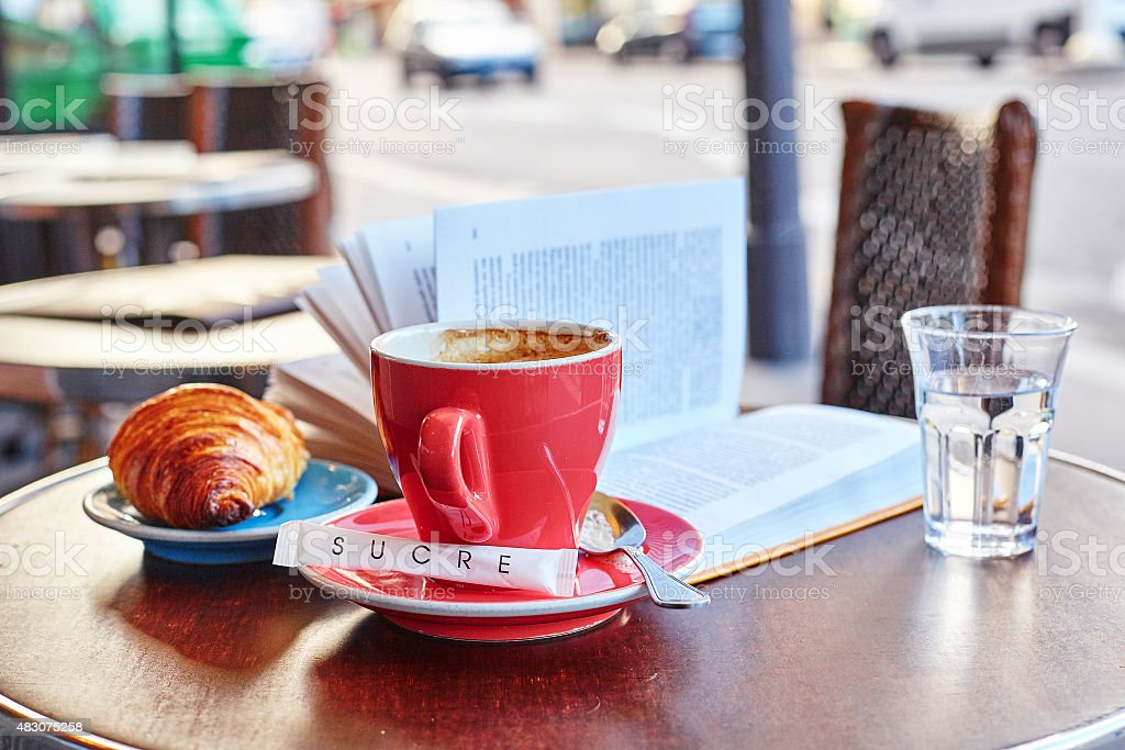 Breakfast in a Parisian street cafe stock photo