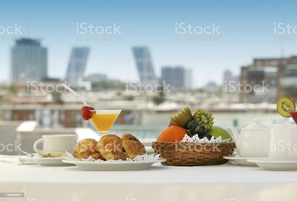 Breakfast in a terrace stock photo