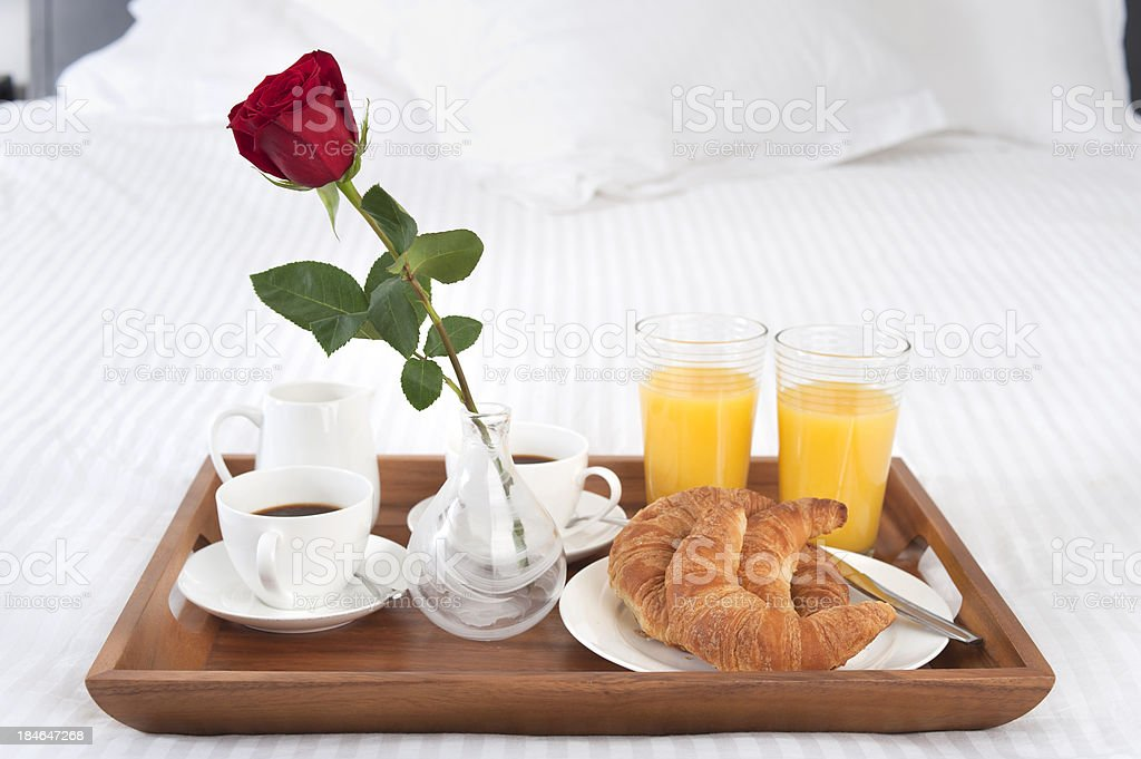 Breakfast in bed for two stock photo