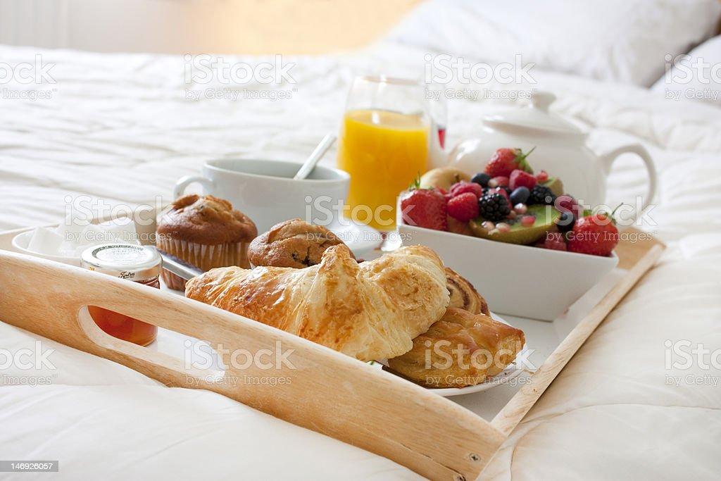 breakfast in bed stock photo