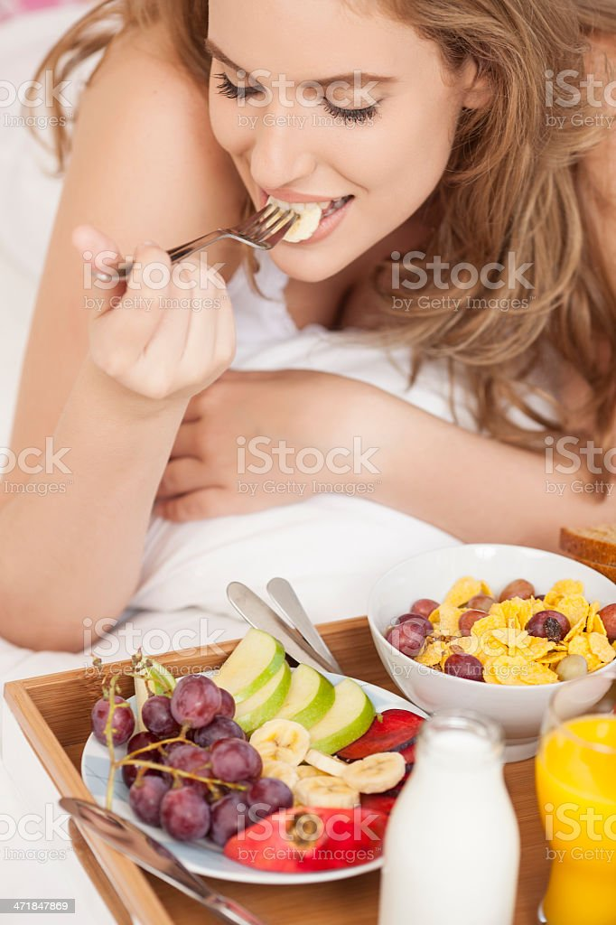 Breakfast in bed. royalty-free stock photo