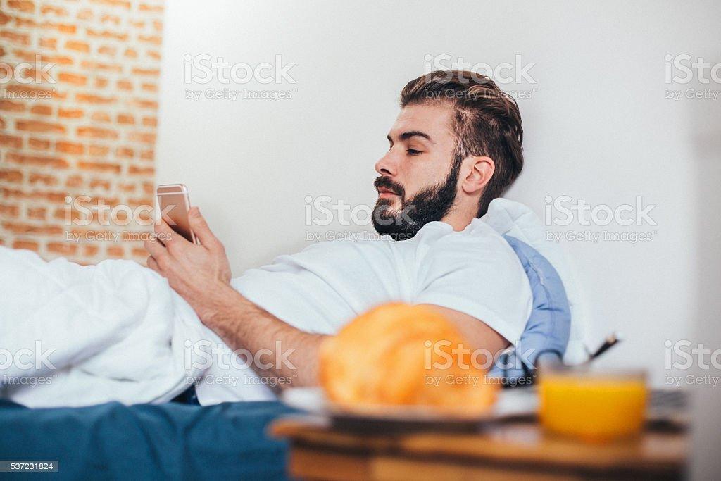 Breakfast in bed! stock photo