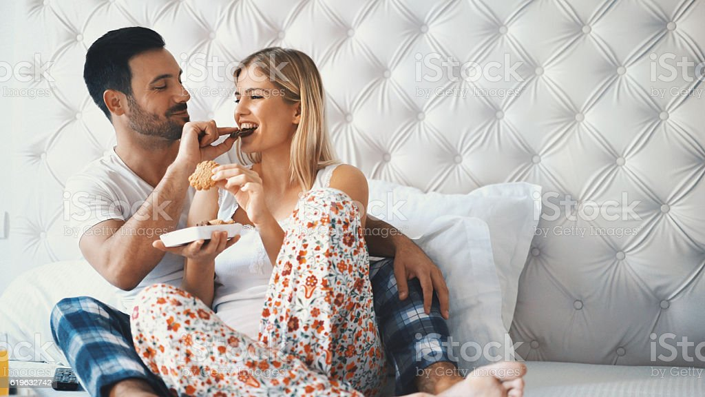 Breakfast in bed. stock photo