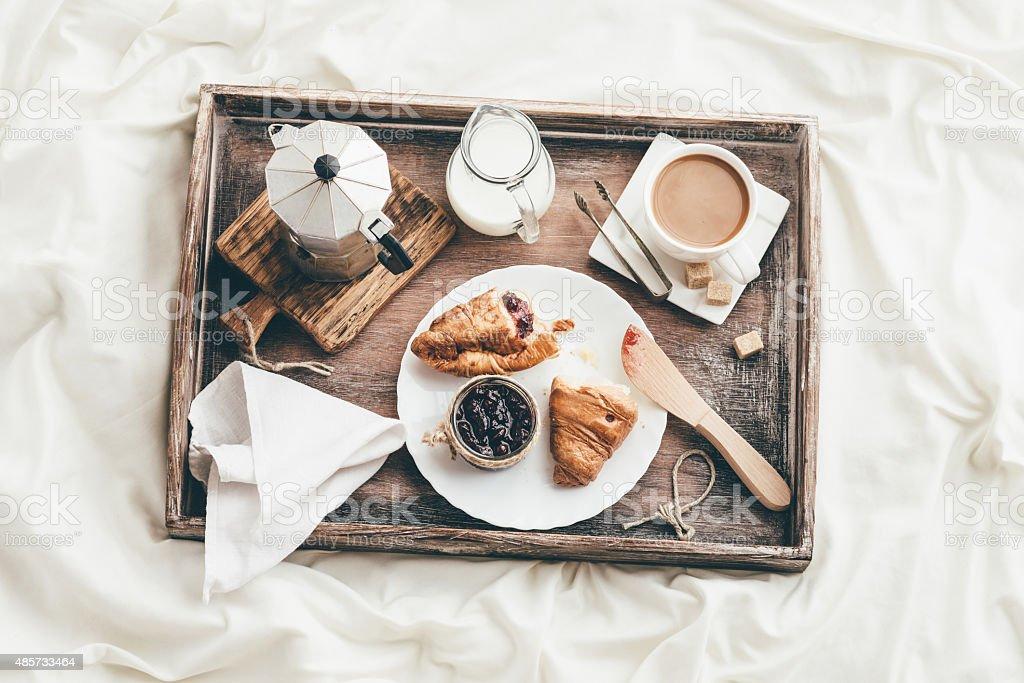 Breakfast in bed. Window light stock photo