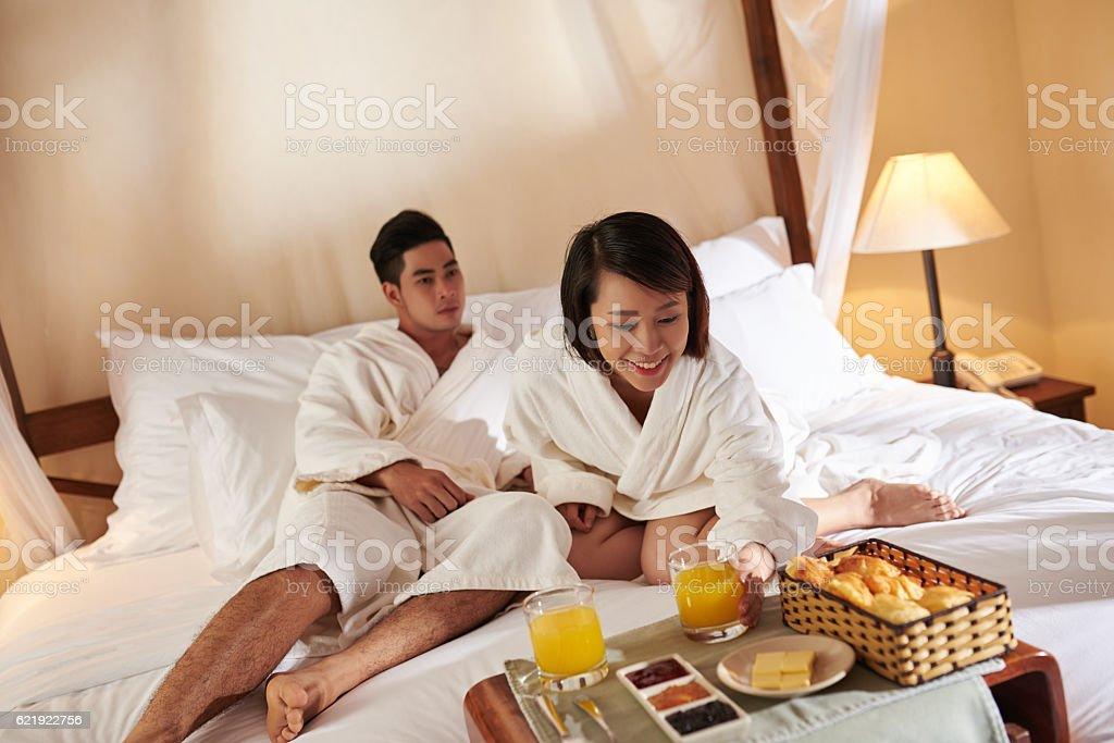 Breakfast in suite stock photo
