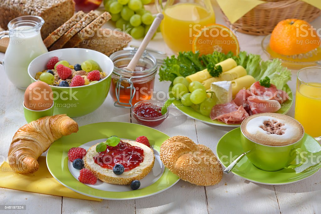 Breakfast in summer stock photo