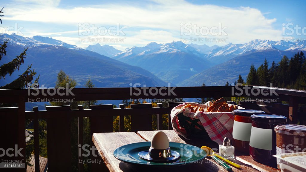 Breakfast in Switzerland, Valais stock photo