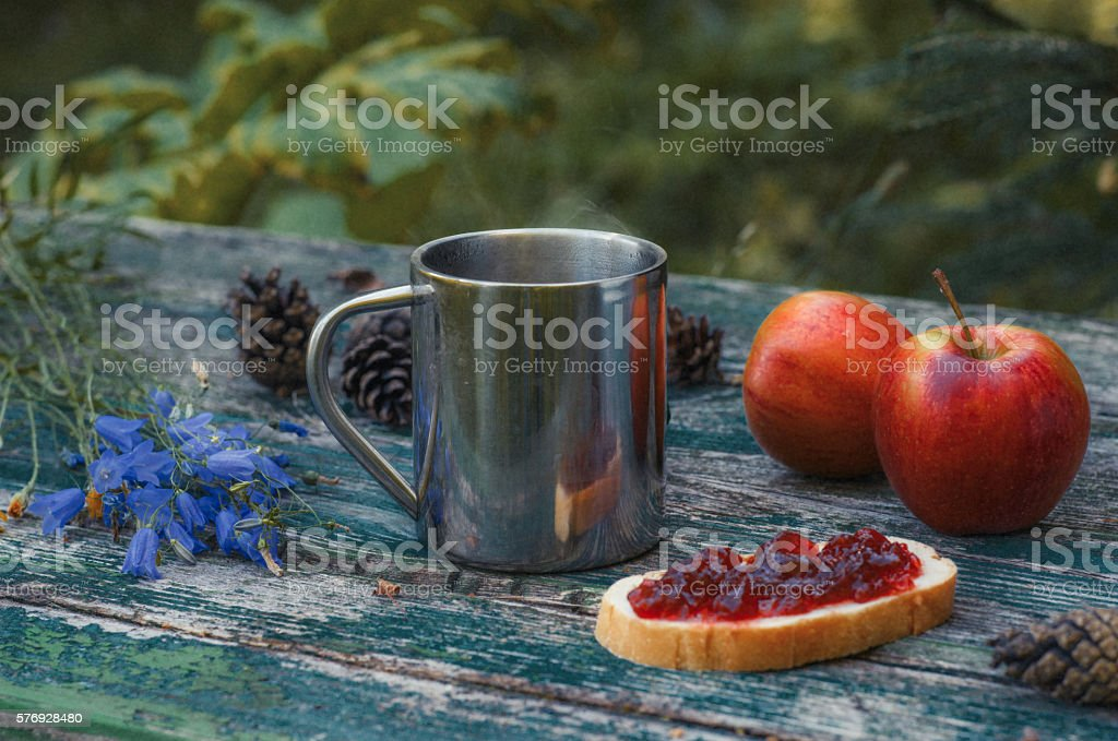 Breakfast in the forest on campaign. Hot tea and apples. stock photo