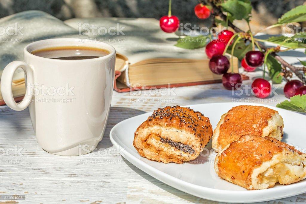 Breakfast in the garden on a summer morning stock photo
