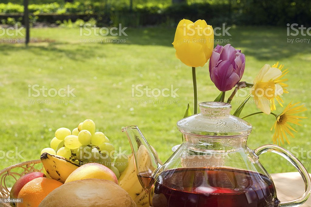 Breakfast in the garden. royalty-free stock photo