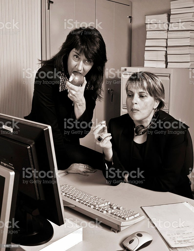 Breakfast in the office royalty-free stock photo