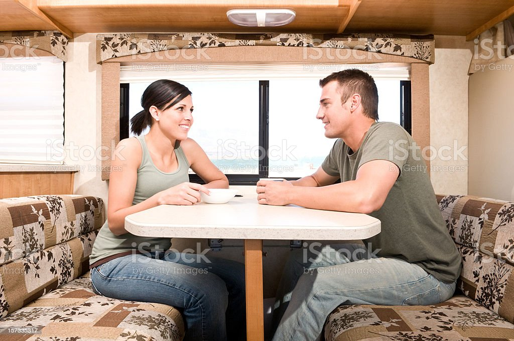 Breakfast in the RV royalty-free stock photo
