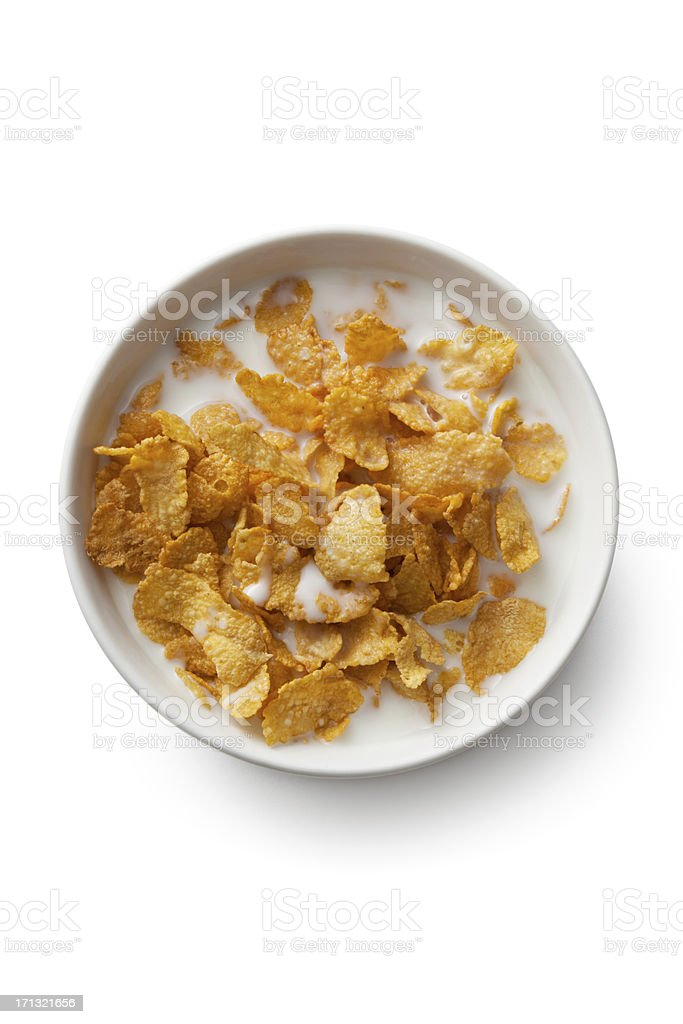 Breakfast Ingredients: Corn Flakes Isolated on White Background stock photo