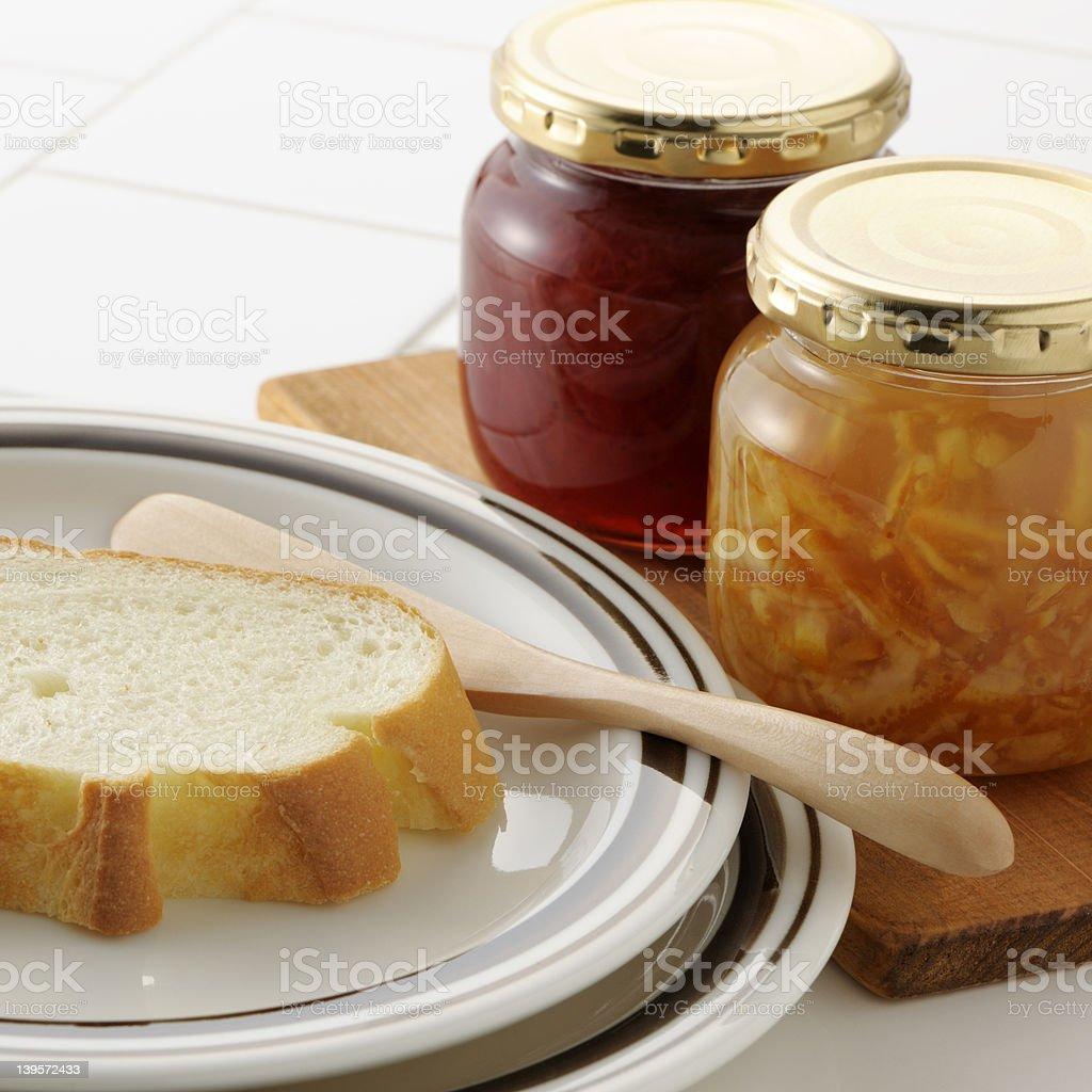 Breakfast jam,marmalade and bread royalty-free stock photo
